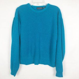 Curry Knits  Long Sleeve Blue Crew Neck Sweater